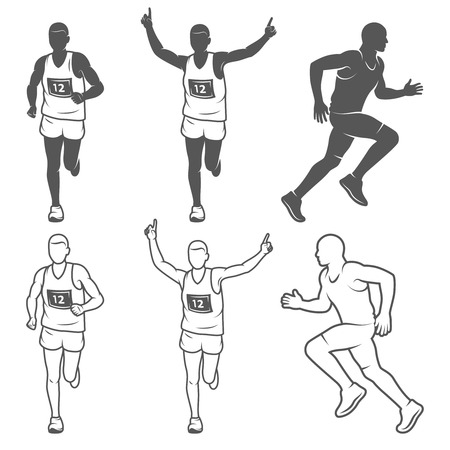 Set of isolated running man. Black and white outlined and filled