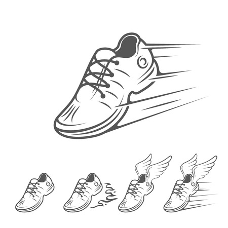 Speeding running shoe icons in five variations with a trainer, sneaker or sports shoe with speed and motion trails
