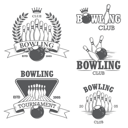 bowling pin: Set of black and white isolated bowling emblems, labels, badges and designed elements.