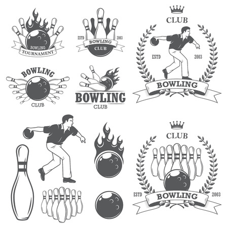 drawing pin: Set of black and white isolated bowling emblems, labels, badges and designed elements. Set 2 Illustration