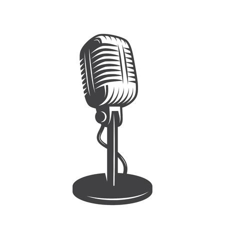 Vector illustratie van geïsoleerde retro, vintage microfoon.