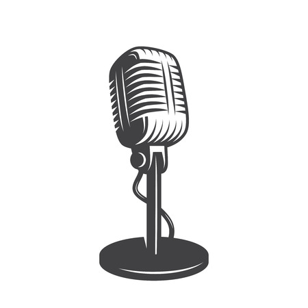 microphone stand: Vector illustration of isolated retro, vintage microphone.