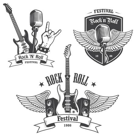ロックン ロール音楽エンブレム、ラベル、バッジ、デザイン要素のセットです。重金属のデザイン。