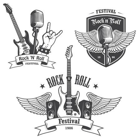 microphone: Set of rock and roll music emblems, labels, badges and design elements. Heavy metal design.