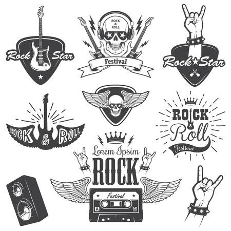 Set of rock and roll music emblems, labels, badges and design elements. Heavy metal design. Set 2 Vector