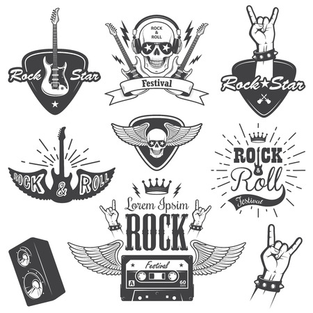 rock: Set of rock and roll music emblems, labels, badges and design elements. Heavy metal design. Set 2