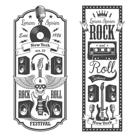 roll paper: 2 rock and roll music flayer covers. Typographic vintage style.