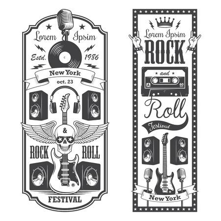 tatouage: 2 rock et roll �corcheur couvre. Style vintage typographique.