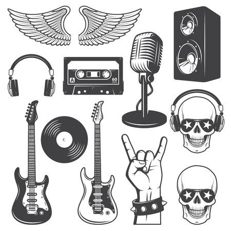 guitarra acustica: Conjunto de elementos del rock and roll. Monocromo
