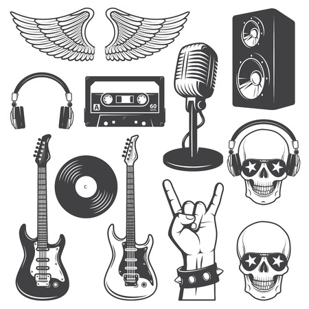 famous star: Set of rock and roll music elements. Monochrome Illustration