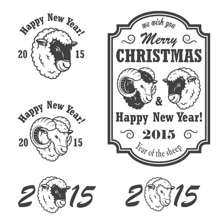 Set of new year and christmas emblems. Monochrom isolated with sheep and ram.