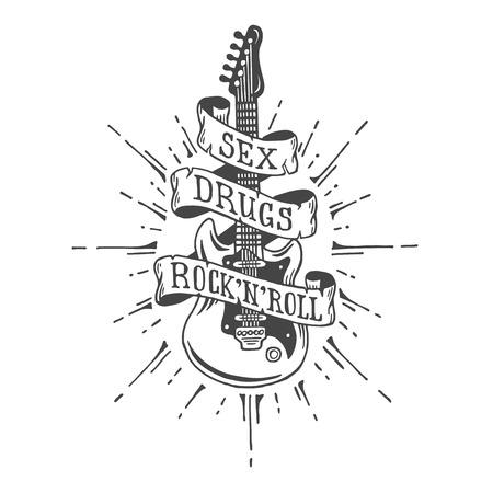 손으로 그려진 된 기타 리본 및 텍스트. 헤비 메탈 스타일. 일러스트