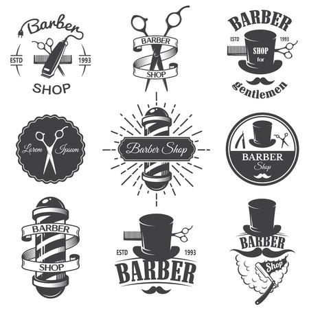 peluqueros: Conjunto de emblemas de �poca barber�a, etiquetas, escudos y elementos dise�ados. Estilo lineal monocrom�tico