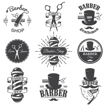 sign pole: Set of vintage barber shop emblems, label, badges and designed elements. Monochrome linear style