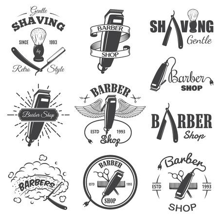 barbeiro: Jogo dos antigos emblemas barbearia, etiqueta, emblemas e elementos desenhados. Estilo linear Monochrome