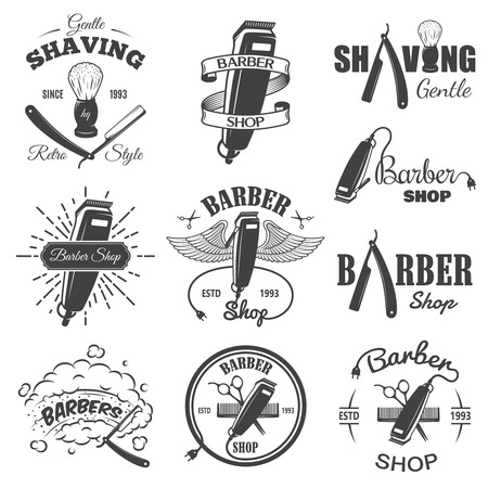 shaver: Set of vintage barber shop emblems, label, badges and designed elements. Monochrome linear style