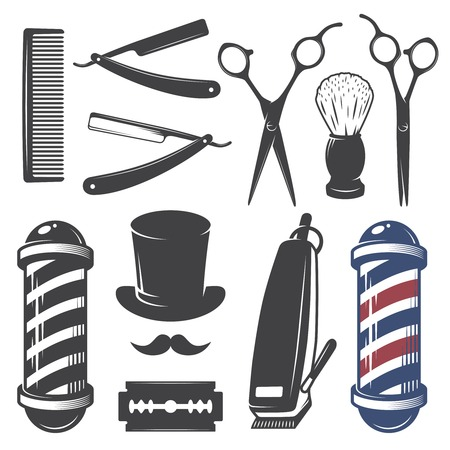 shaver: Set of vintage barber shop elements. Monochrome linear style