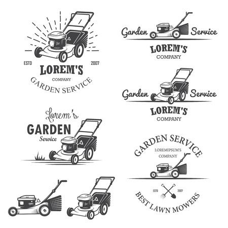 jardineros: Conjunto de emblemas de la vendimia de servicios jardín, etiquetas, escudos, logotipos y elementos diseñados. Estilo monocromo