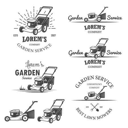gardening equipment: Set of vintage garden service emblems, labels, badges, logos and designed elements. Monochrome style
