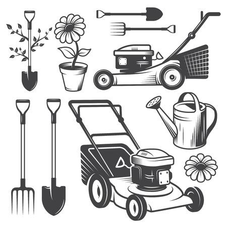 빈티지 정원 로고 및 디자인 요소의 집합입니다. 흑백 스타일