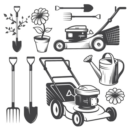 gardening tools: Set of vintage garden logos and designed elements. Monochrome style Illustration