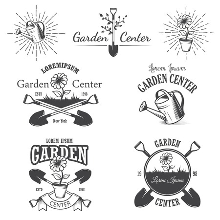 hoe: Set of vintage garden center emblems, labels, badges, logos and designed elements. Monochrome style