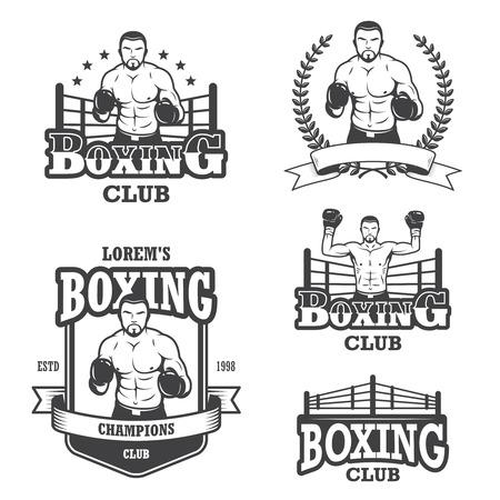 boxing knockout: Set of vintage boxing emblems, labels, badges, icons and designed elements. Monochrome style Illustration