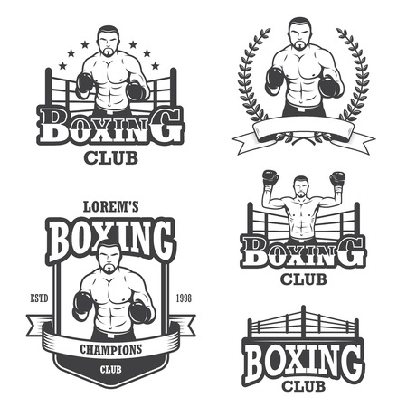 Set of vintage boxing emblems, labels, badges, icons and designed elements. Monochrome style Illustration