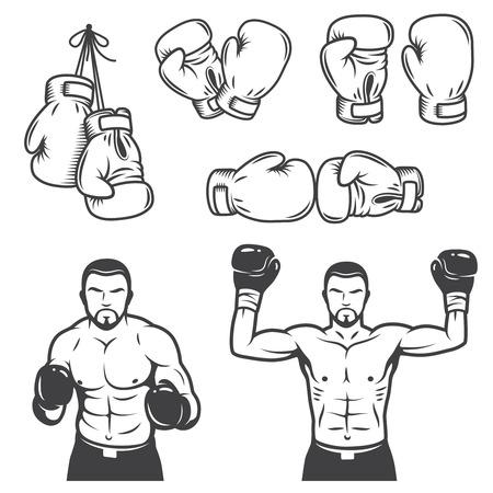 ビンテージ ボクシング エンブレム、ラベル、バッジ、アイコン、デザイン要素のセットです。モノクロ スタイル