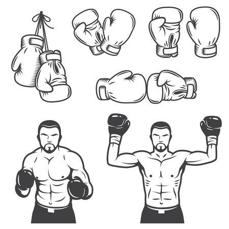 boxing glove: Set of vintage boxing emblems, labels, badges, icon and designed elements. Monochrome style