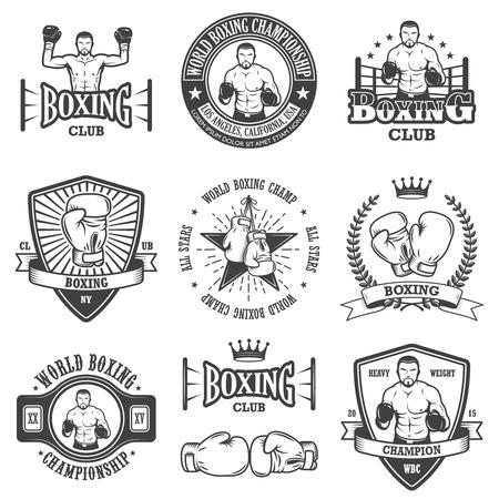Conjunto de emblemas Boxeo del vintage, etiquetas, escudos, logotipos y elementos diseñados. Estilo monocromo