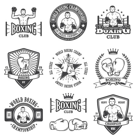 team sport: Set of vintage boxing emblems, labels, badges, logos and designed elements. Monochrome style