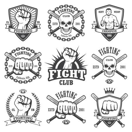 puños cerrados: Conjunto de lucha fresco emblemas del club