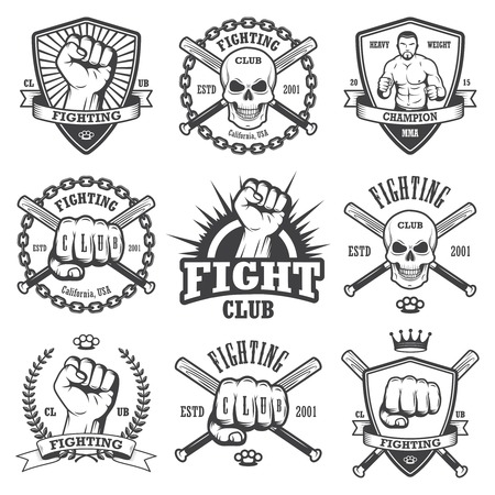 sport club: Set of cool fighting club emblems