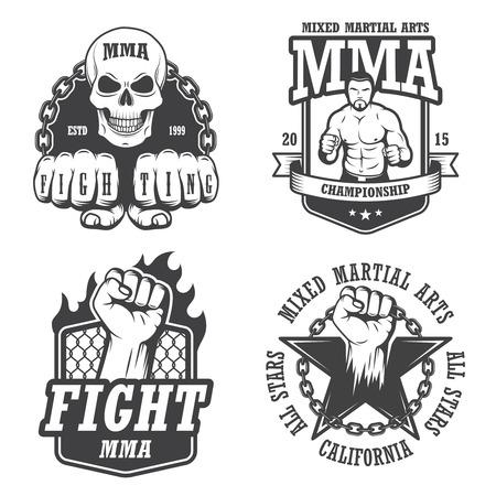 artes marciales: Conjunto de cuatro emblemas mma
