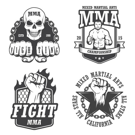mixed martial arts: Set of four mma emblems