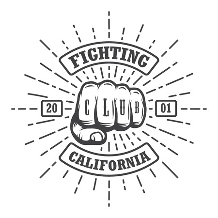 dirty t shirt: Hipster emblem about fighting club. Illustration