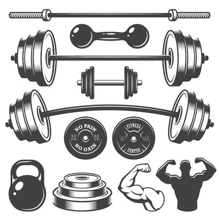 gym equipment: Insieme di elementi di fitness progettato epoca. Stile Monochrome Vettoriali