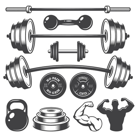 hand with dumbbell: Set of vintage fitness designed elements. Monochrome style