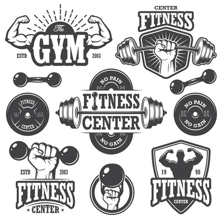 hand with dumbbell: Second set of monochrome fitnes emblems, labels, badges, logos and designed elements. Illustration