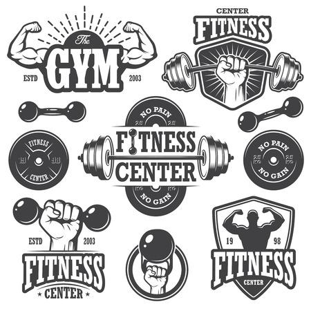 Tweede reeks monochrome fitnes emblemen, etiketten, insignes, logo's en ontworpen elementen. Stock Illustratie