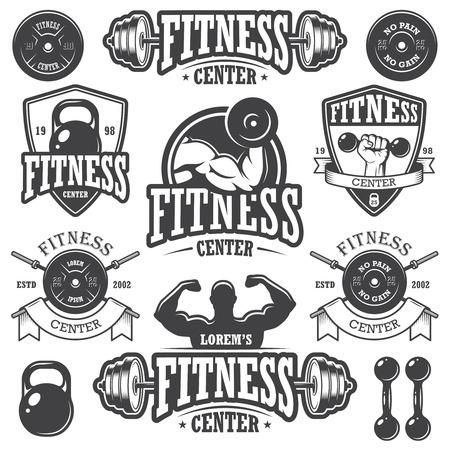 levantando pesas: Conjunto de emblemas de fitness monocromo Vectores