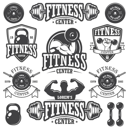 hand with dumbbell: Set of monochrome fitness emblems Illustration