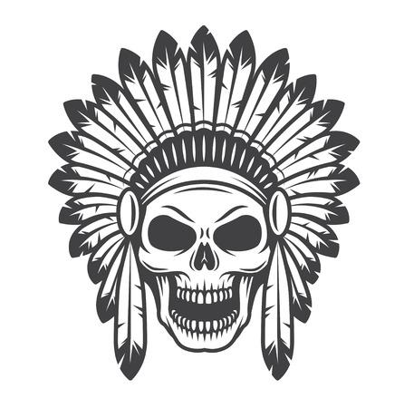 アメリカンインディアンの頭蓋骨の図。モノクロのスタイルです。野生の西のテーマ