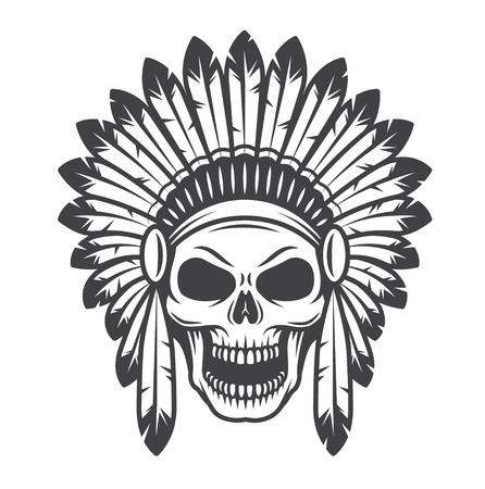 mascots: Illustration of american indian skull. Monochrome style. Wild west theme
