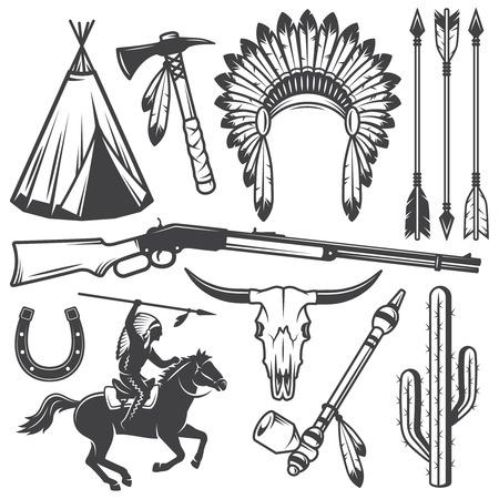 indio americano: Conjunto de elementos indios oeste americano salvaje diseñados. Estilo monocromo Vectores