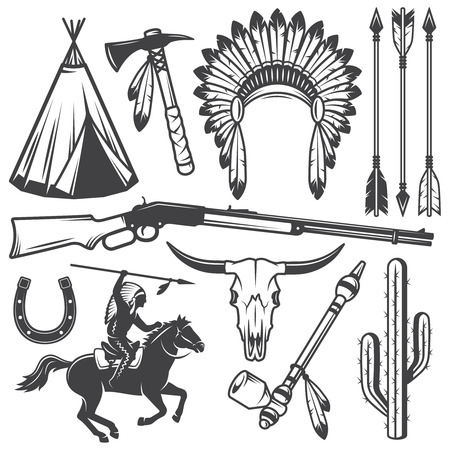 indian chief headdress: Set di selvaggio West americano elementi progettati indiano. Stile Monochrome