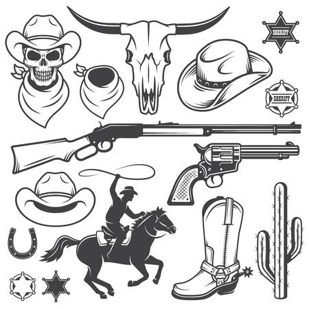 vaquero: Conjunto de vaquero del oeste elementos dise�ados salvajes. Estilo monocromo