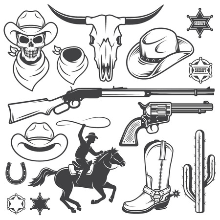 saloon: Set of wild west cowboy designed elements. Monochrome style