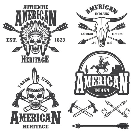indian chief: Set of american indian emblems, labels, badges, and designed elements. Monochrome style